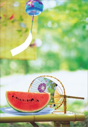 Typical Japanese summer day- a fan, some watermelon, a bamboo shade and a wind chime from www.pinup.jp