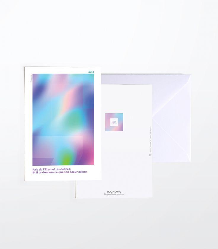 carte de la collection Eve Design papeterie chrétienne iconova Dégradés et formes évanescentes  #couleurs #lumière #reflets #douceur www.iconova.fr