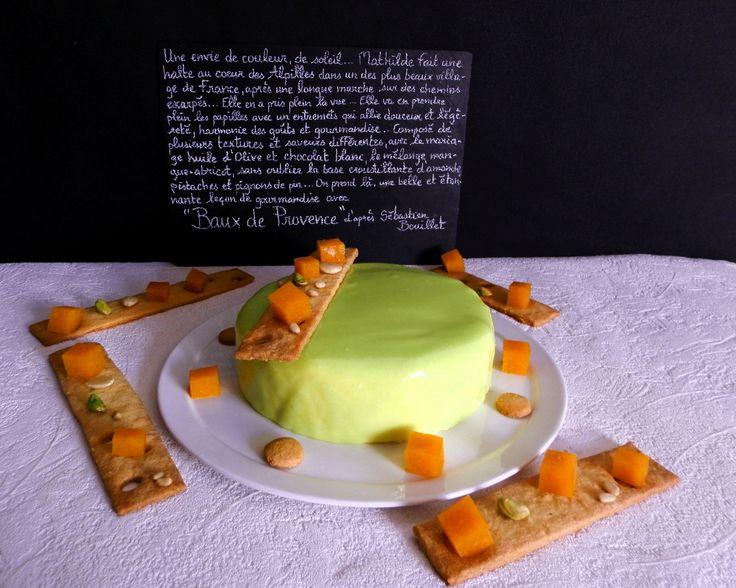 croustillant fruits secs, biscuit amandes, coeur mangue-abricot, mousse chocolat blanc-huile d'olive