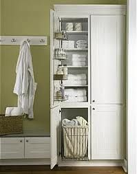 Bathroom Storage Linen Cabinet With Hamper