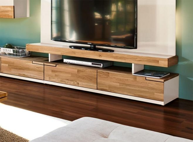 Arte M Feel Solid Oak And White Or Grey 2 Or 3 Drawer TV Unit
