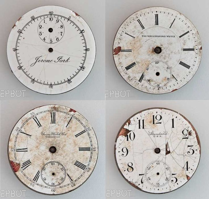 Great vintage clock faces -- free printables. Print, attach to rough wood, apoxy and attach the hands.