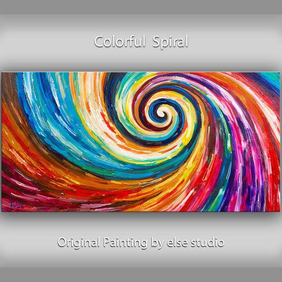Original Spiral Art painting huge Impasto Texture by elsestudio, $358.00