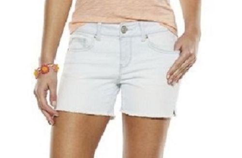 NWT Juniors Girl SO Mid Rise Light Denim Jean Midi Shorts Cutoff White Size 7 #SO #Midi