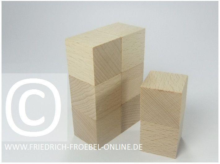 Gift 3 Froebel:  Bar mit Barhocker aus Holzbausteinen natur (mit Spielgaben nach Froebel)