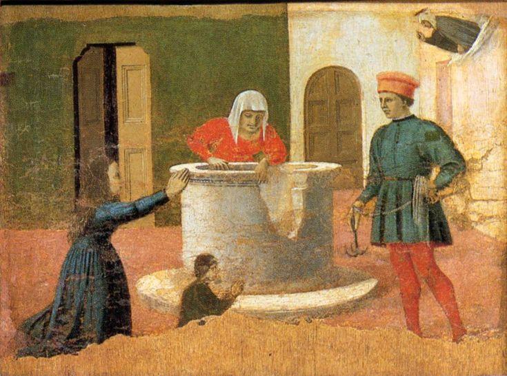 Piero della Francesca. Polyptych of St Anthony: St Elizabeth Saves a Boy (c. 1460). Panel, 36 x 49 cm. Galleria Nazionale dell'Umbria, Perugi