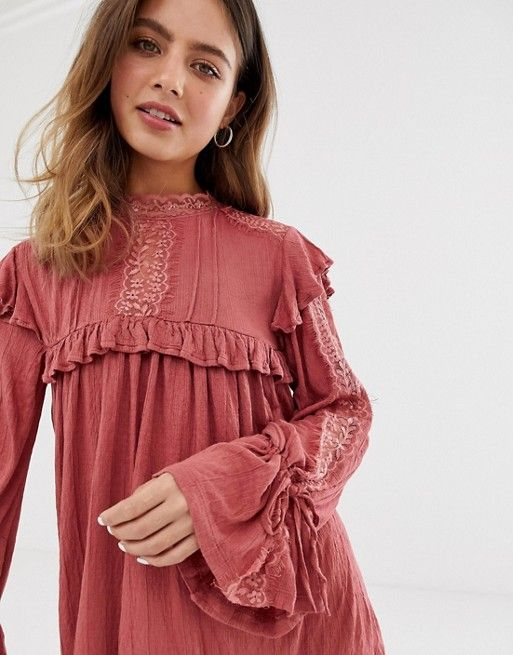 11cececfab4b3 DESIGN high neck lace insert crinkle swing dress in 2019 | My Style ...