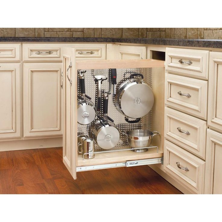 26 in. H x 8 in. W x 23 in. D Pull-Out Wood Base Cabinet Organizer with Stainless Steel Panel, Light Brown Wood