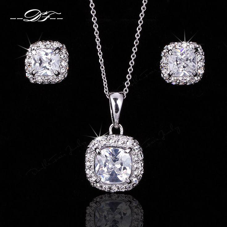 Четыре Коготь CZ Бриллиантовые Ожерелья и Кулоны Серьги Оптовая Платиновым покрытием Кристалл Свадьба Ювелирные Наборы Для Женщин DFS009