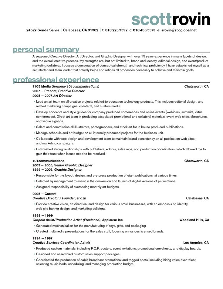 47 best Resume images on Pinterest Resume, Resume design and - art director resume sample