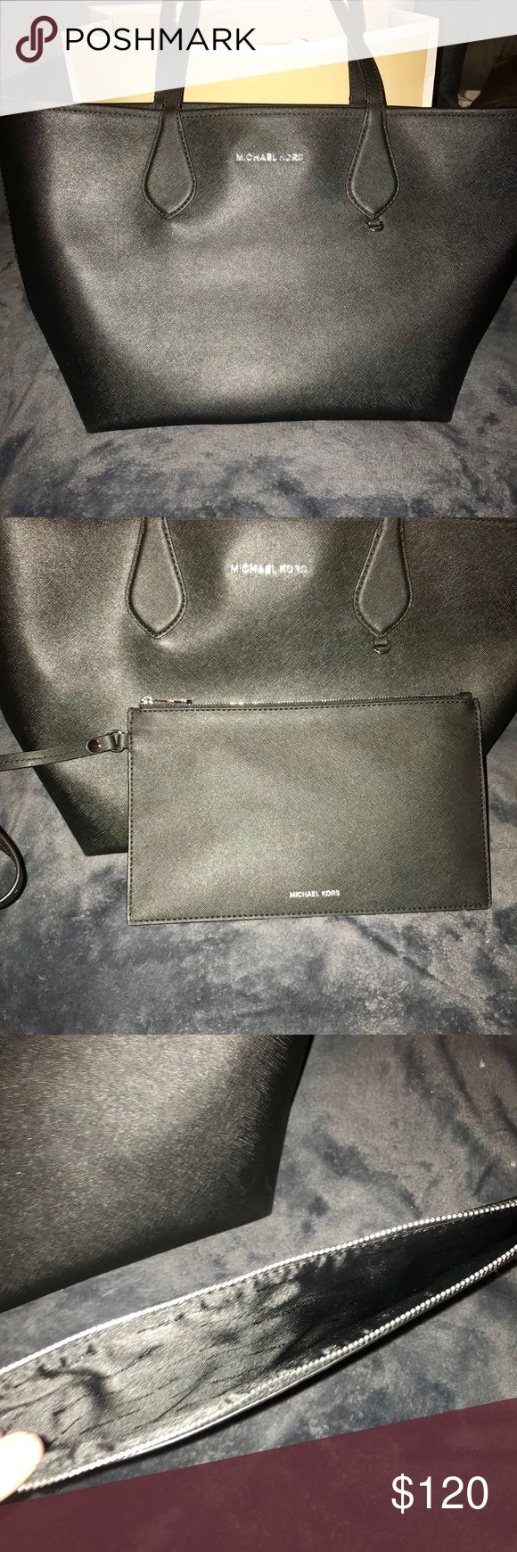 Michael Kors Saige medium tote New without tags! No wear in excellent condition. Medium tote with attachable wristlet. Black and gold Michael Kors Bags Totes
