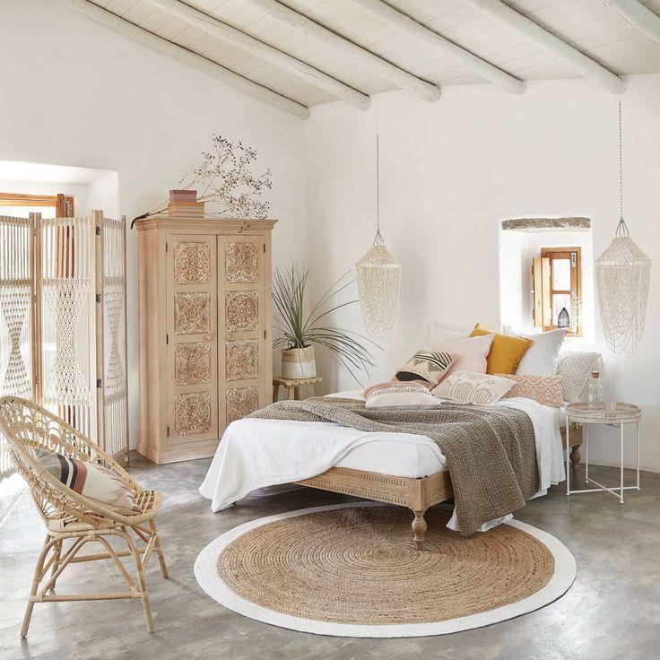 Geflochtener runder Juteteppich mit weißen Konturen D180   – Wohnideen