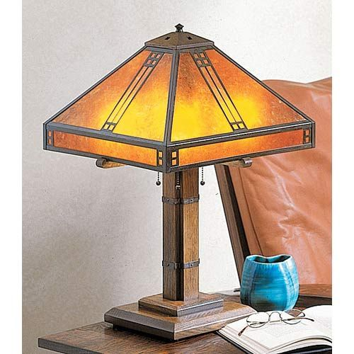 Prairie Large Amber Mica Table Lamp. Hand crafted in America by American artisans