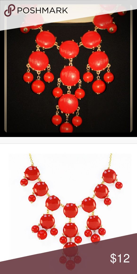 Boutique- Red Bubble Bib Necklace This bubble necklace is the iconic statement piece. A necklace so bold and dramatic yet flexible enough to go with any outfit. Style it with your... Lobster clasp and sizing chain for length adjustment. Jewelry Necklaces