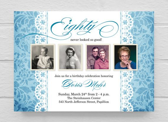 91 best 80th birthday images on pinterest | invitation ideas, Birthday invitations