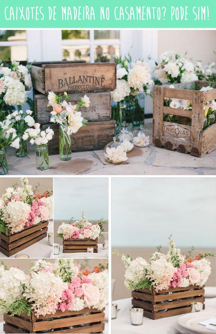 Caixote de madeira + flores: a dupla perfeita para uma decoração folk | Shopfesta