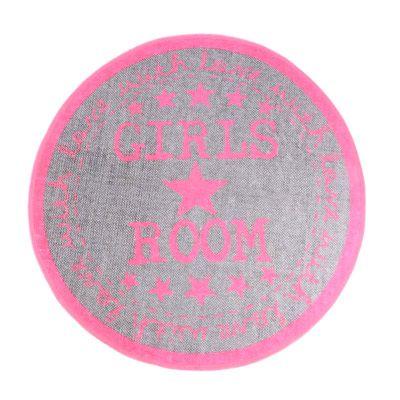 19 90eur teppich rund girls room mit sternen grau pink teppiche e. Black Bedroom Furniture Sets. Home Design Ideas