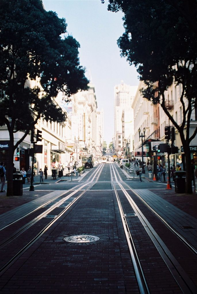Cable car tracks line the streets of