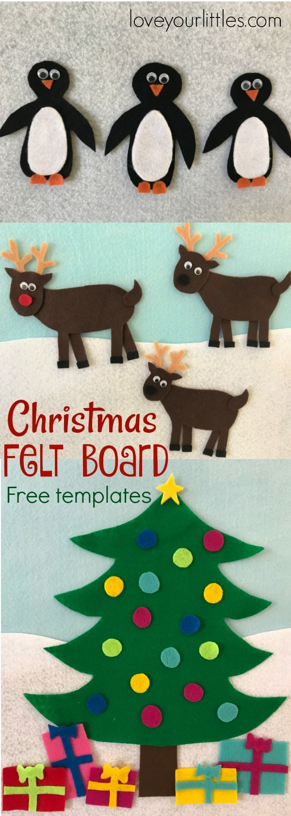 Free downloadable templates. Create your own Christmas themed felt board for kids to play with all month long!