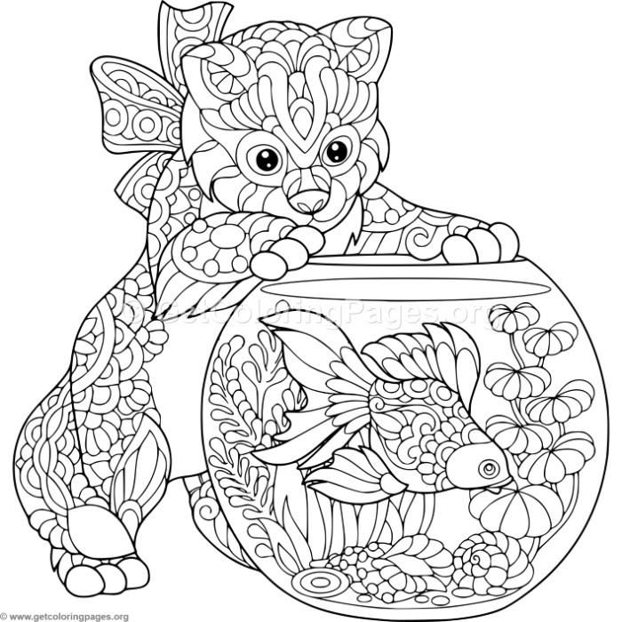 Free Instant Download Zentangle Kitten And Goldfish Coloring Pages