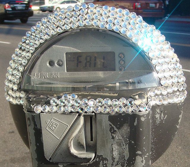 """A """"Bling"""" parking meter in Los Angeles.. On Melrose, near Fred Siegal"""