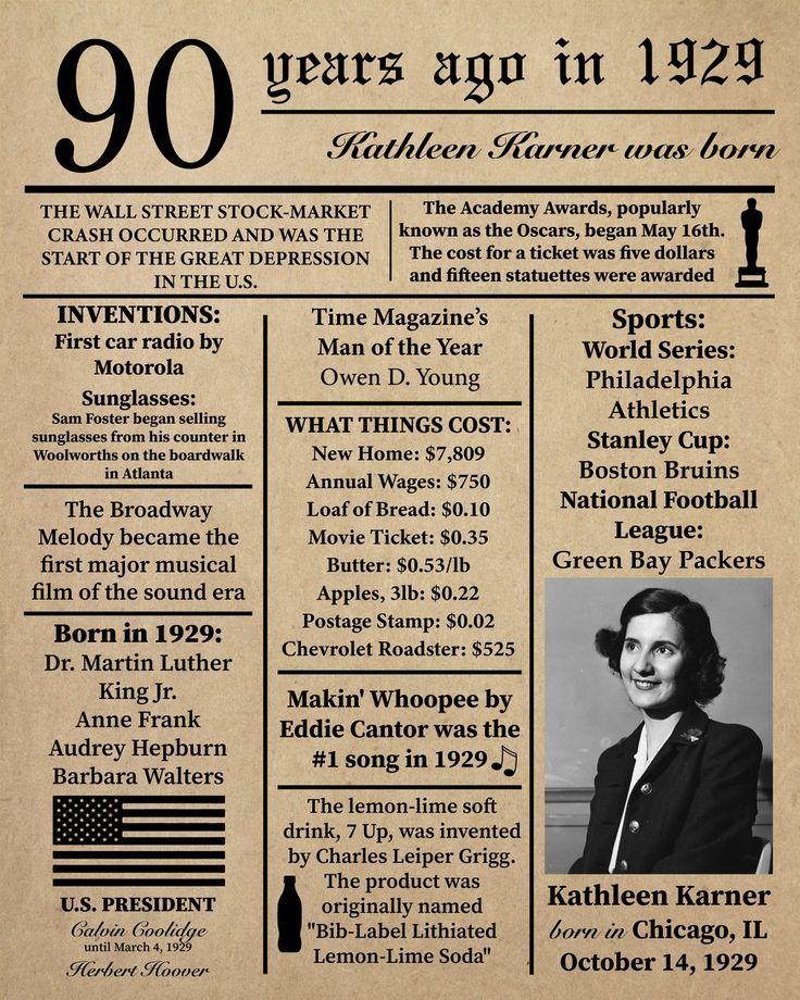 Personalisierte 90 Geburtstag 1929 Zeitung Poster Fakten