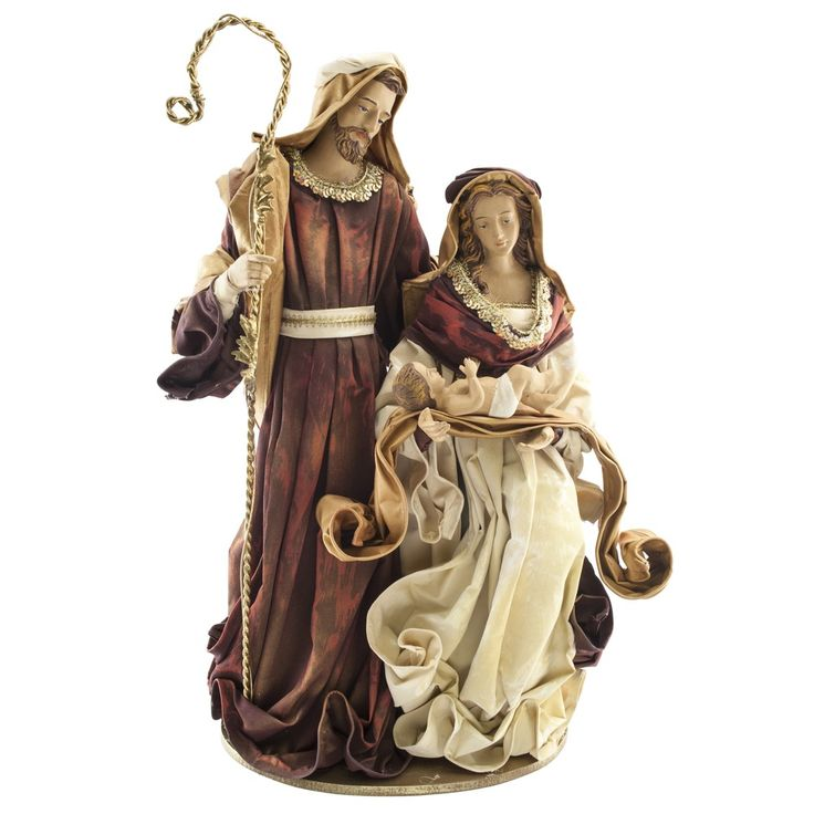 "Holy Family Fabric Mache Figure, 16"".  Truly stunning representation of the Holy Family in lustrous fabric, made in the Philippines, $139.95. A truly beautiful and unique display!"