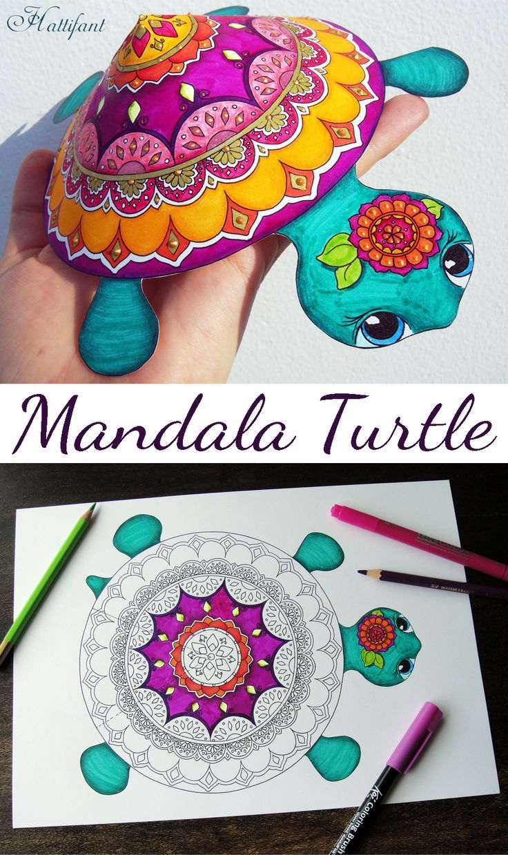 DIY Color and Craft ...Fabulous Mandala Turtles for you to color and play with. Comes in color, too. Free sample avaialble. Printable, coloring page, 3D coloring, Hattifant, kids craft, grown up coloring