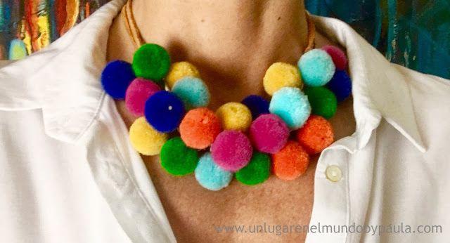 Collar, Pompones, Color, Zamak, Cadena, Serraje, DIY, Bisutería, Abaloriosdezamak, Cuero, Abalorioszamak, Leather.