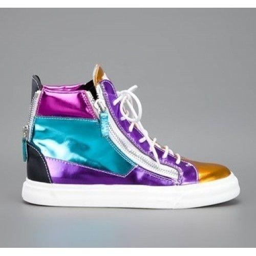 Salg Giuseppe Zanotti Sneakers Blå Lila Herre Dame Sko Outlet