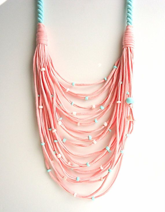 Baby Pink - Mint Green T-shirt yarn necklace/ scarf necklace/ ecofriendly/ upcycled necklace/ rope necklace/ hypoallergenic/ light turquoise