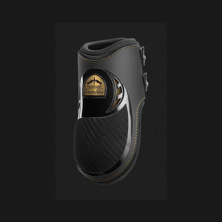 Protezione per cavallo paranocche Verdeus. Grand Slam Carbon Gel è la gold edition che Veredus dedica alla vittoria del testimonial Scott Brash al Rolex Grand Slam of Showjumping: alta tecnologia e innovazione impreziositi da dettagli dorati, in pieno stile celebrativo.