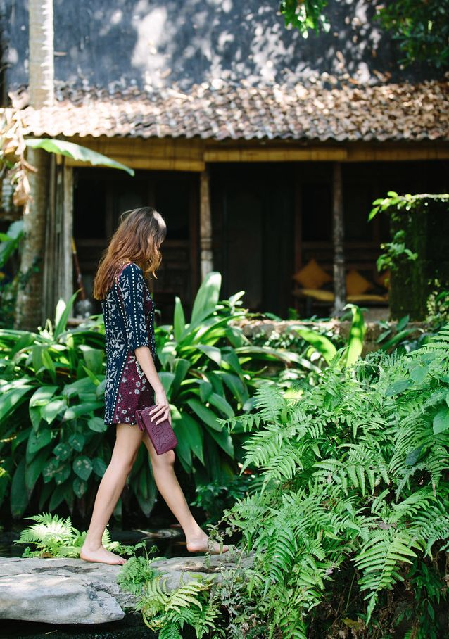 Cleobella Piper Dress and Mexicana Zip Wallet from our Resort Exclusive Collection, shot at Bambu Indah in Bali, Indonesia