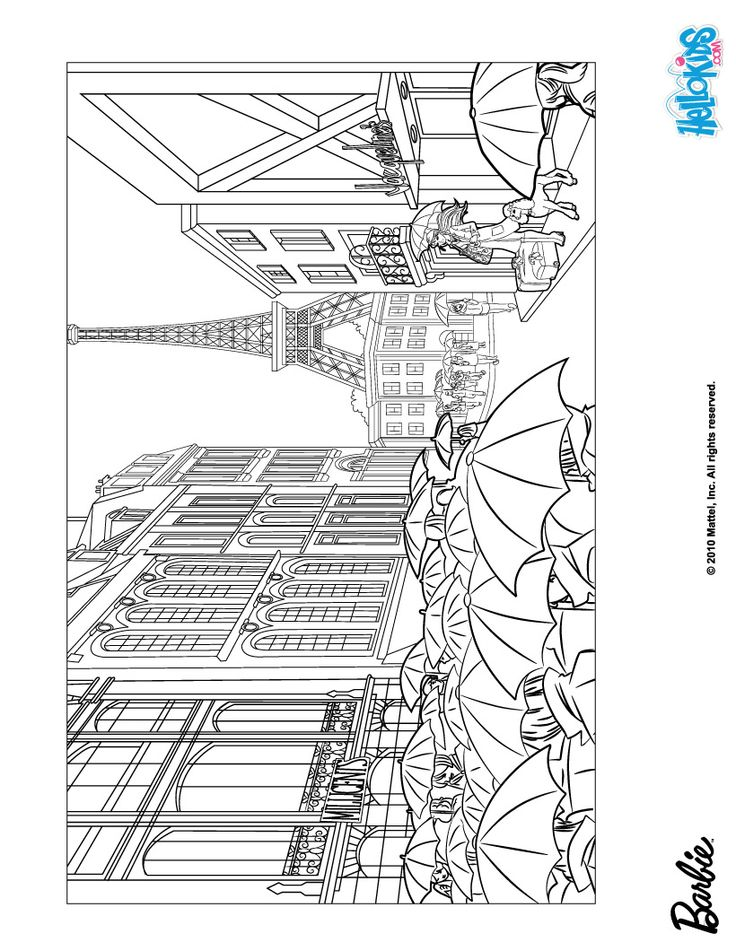 Paris Under The Rain Barbie Coloring Page Printable