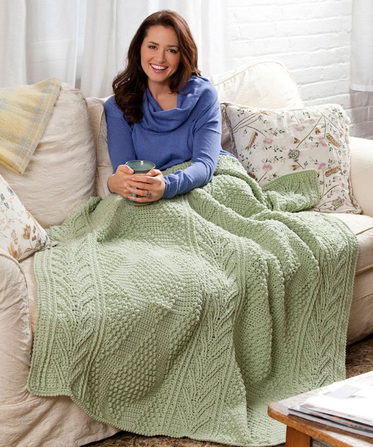 Here's a beautifully textured throw that will add interest to your room and stay looking great, even after repeated washings. Crocheted in just one color, it's easy to change to a color that fits your unique style.