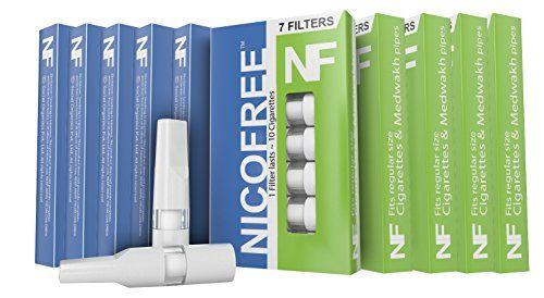 Nicofree Cigarette Filter (10 Packs = 70 filters = upto 700 Cigarette) For Cigarette / Dokha / Medwakh (WHITE)  Absolutely NO CRACKS, Material: Plastic, Colour: BLACK/WHITE(Translucent sheen), Finish: Machine made  Protects against: Tar and Toxins, Burns / Darkening of Lips, odour on fingers and lips  7 filters in one pack, Keep away from Children.  Size: For regular sized cigarettes and standard size dokha / medwakh pipes.  Will not fit slim and super slim cigarettes,