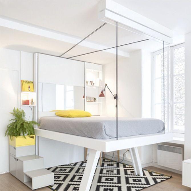 天井からベッドをするりと下ろして ぐっすり眠ろう 家具のアイデア