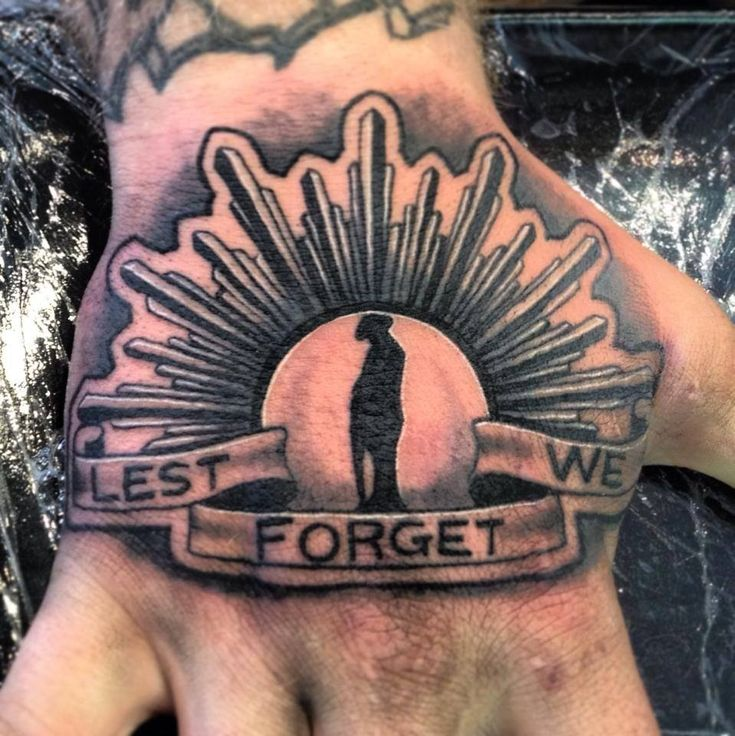 Lest We Forget tattoo idea for men on hand. One of the best  ANZAC Australian Army tribute designs
