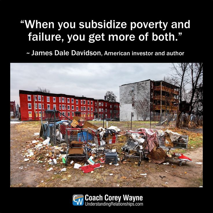 "#jamesdaledavidson #american #investor #economics #capitalism #socialism #poverty #failure #government #politics #money #economictheory #coachcoreywayne #greatquotes Photo by iStock.com/DenisTangneyJr ""When you subsidize poverty and failure, you get more of both."" ~ James Dale Davidson"