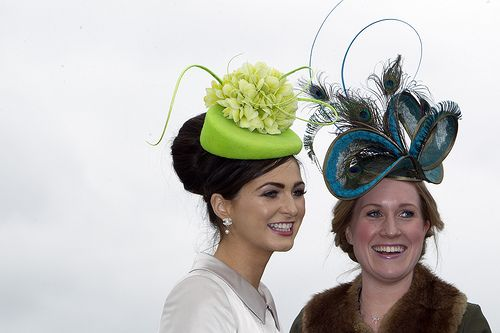 Racegoers arrive for day two Punchestown Festival #HorseRacing #Hats #Festival #HorseRacing #Ireland