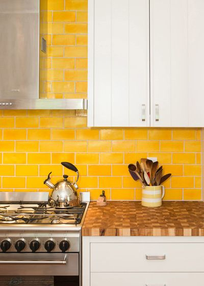 Vibrant yellow subway tile!  Traditional Kitchen by Pobal Construction Group