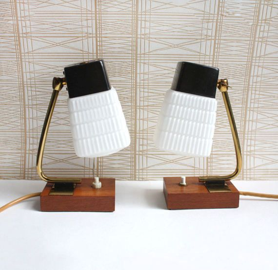 1960s Accent Lights / Bedside Table Lamps. Teak , White Glass, Brass. Danish
