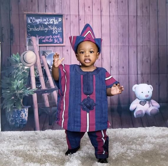 First birthday asooke outfit for baby girls