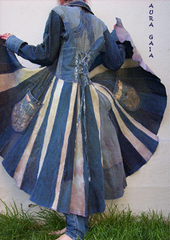 AuraGaia ~ Bluebird ~ Poorgirl's Denim Corset Back Patchwork Traveling Coat & Matching Infinity Scarf. upcycled overdyed tattered raw ooak