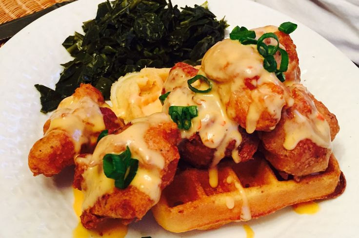 Beer Battered Chicken and Cornbread Waffles with Bang-Bang Sauce