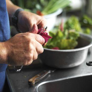 Klassiker: Helstegt kylling med nye kartofler, rabarberkompot, agurkesalat og mild gulerodssalat