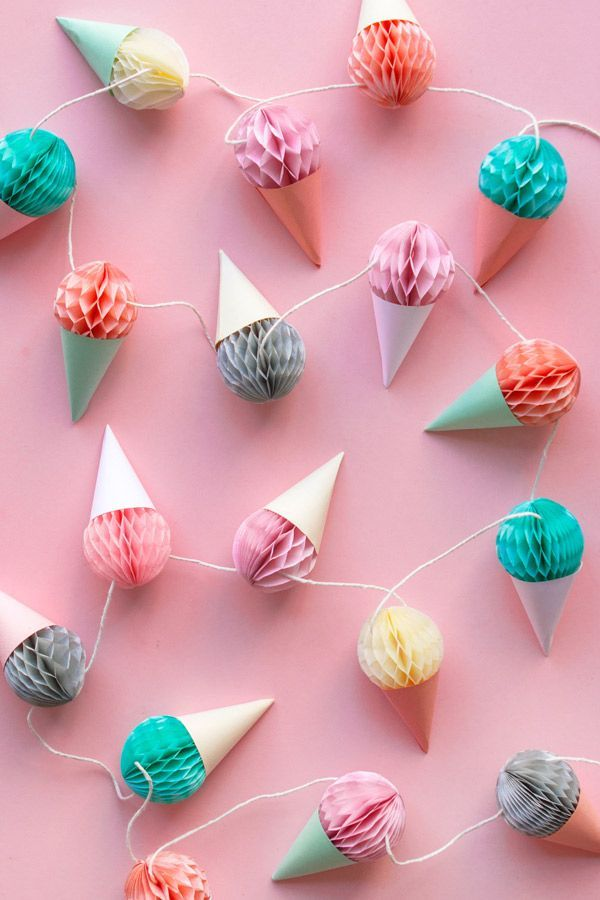 Mini Honeycomb Ice Cream Garland