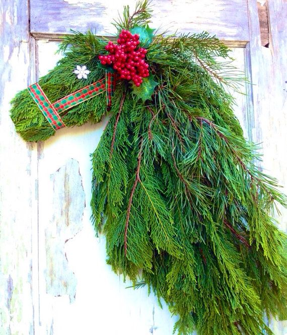 Horse Head Wreath  FRESH Cut Cypress & Pine by WreathUnique, $55.00
