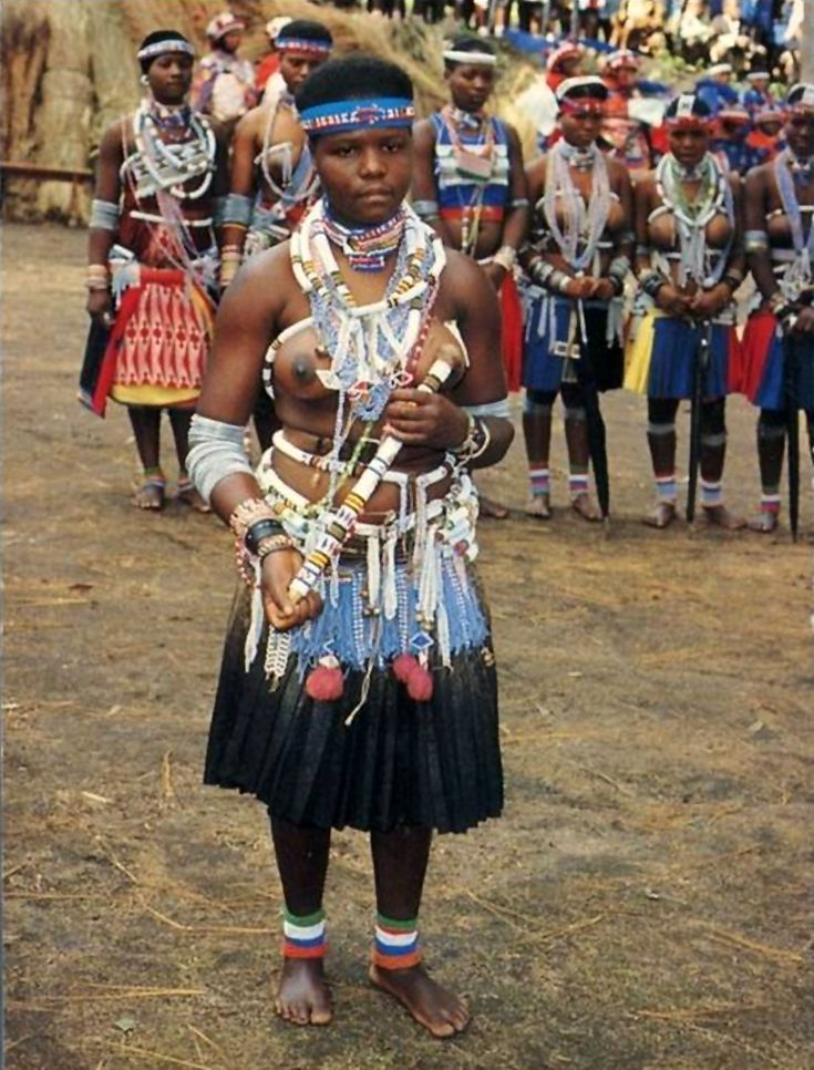 Africa | Young Zulu women in ceremonial dress.  South Africa | Postcard Image