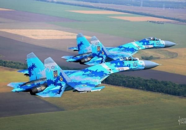 "Ukrainian Air Force Sukhoi Su-27 ""Flanker""  fighters."